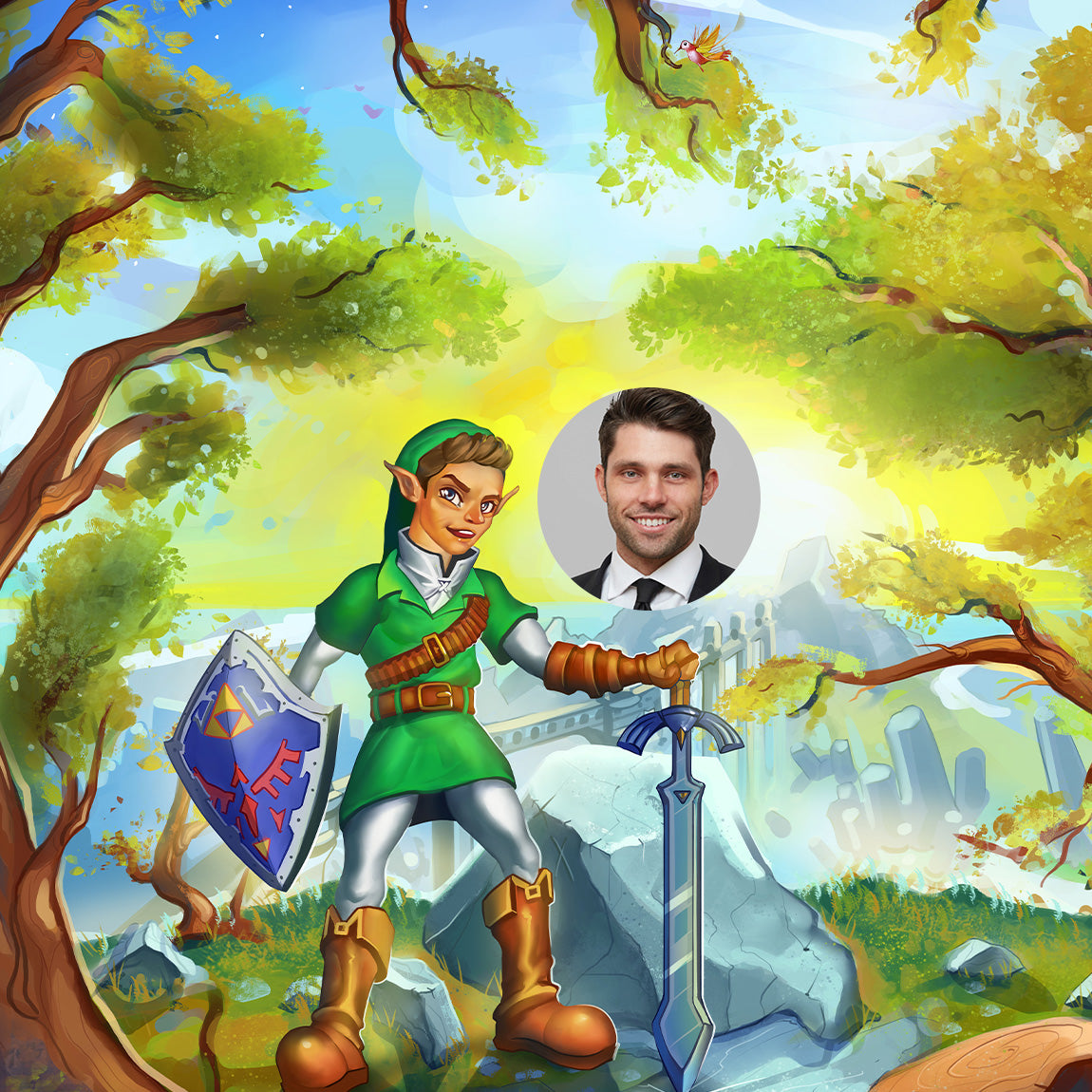 An illustration of a man turned into Zelda game character and a real photo of him besides for comparison. In the background you can see a misty forrest. The character is dressed in green, holding a sword and a shield. He looks like an elf, his ears are pointy. He is also wearing leather boots, gloves and belt. Smiling as if he conquered the enemies.