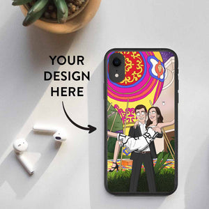 iPhone XR with a custom design biodegradable case. The design contains a personalized Rick and Morty style illustration of a couple. Text on the image says: Your Design Here. An arrow points from the text to the smartphone.