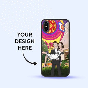 iPhone X with a biodegradable case. The case has a personalized GetAnimized drawing printed on it. Text on the image says: Your Design Here