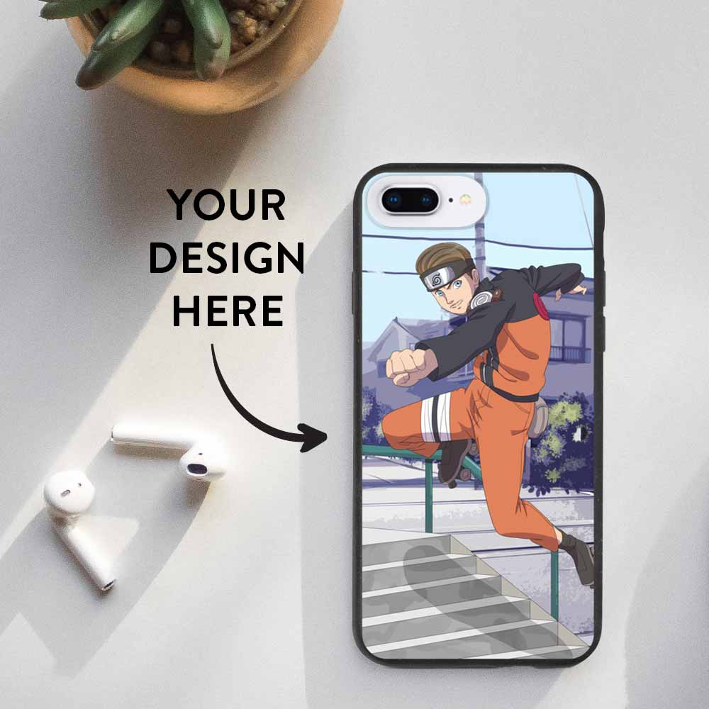 Eco friendly iPhone 7 Plus and iPhone 8 Plus case with a personalized design print.
