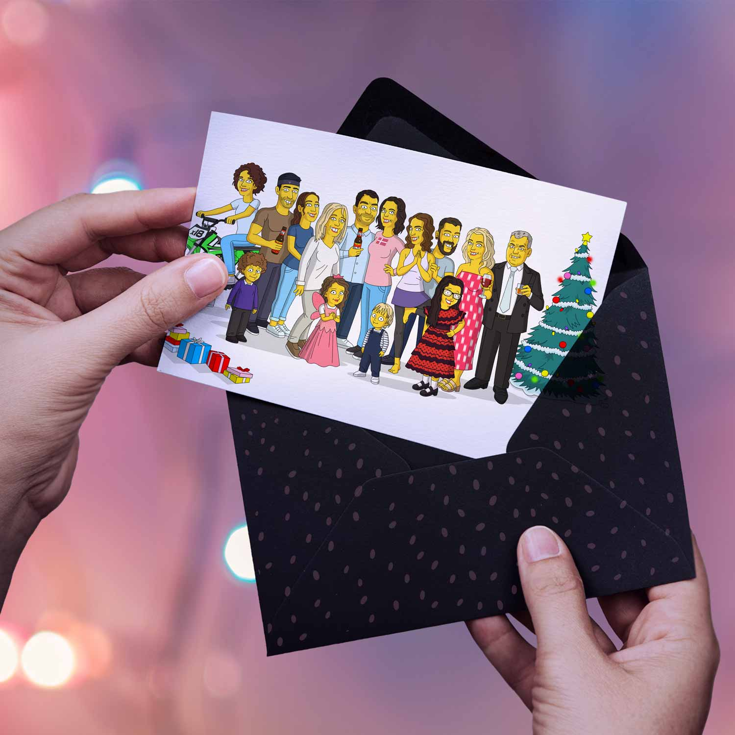 In the picture you can see a polaroid background and woman's hands holding an open envelope with a beautiful postcard in it. The postcard contains a portrait of a big family. They were drawn as Simpsons characters. All looking happy and being in a festive mode.