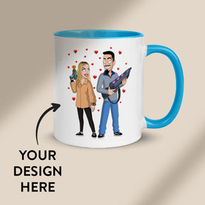 White mug with custom design decole. It is bright blue coloured inside. Text on the image says: Your Design Here
