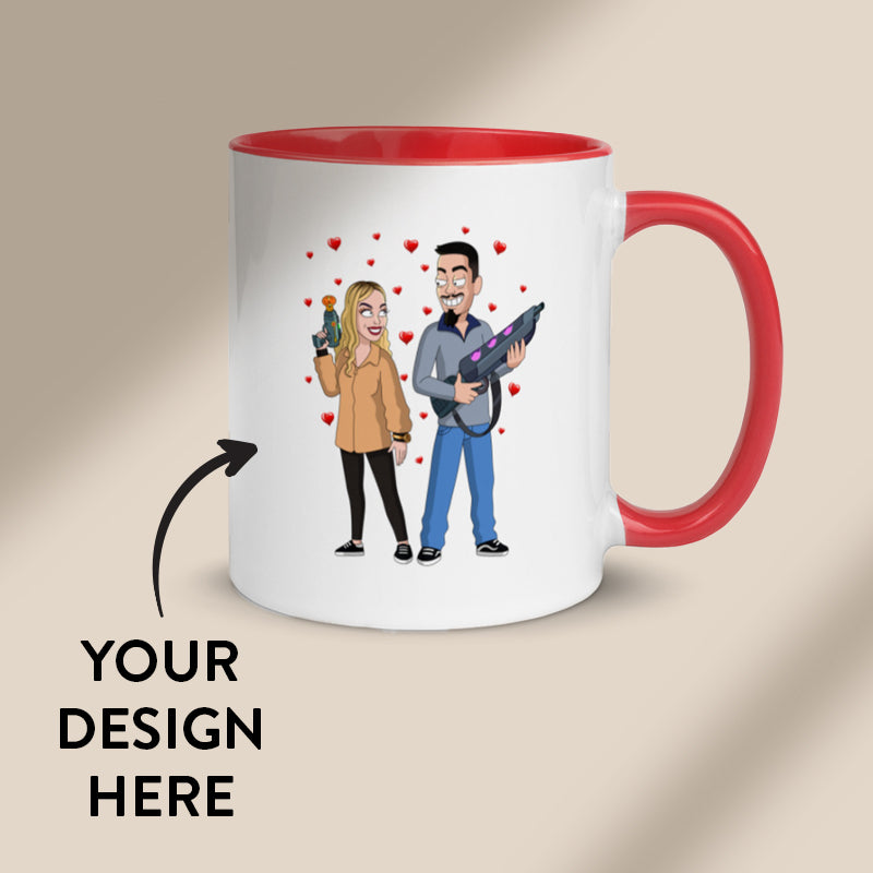 White mug with a custom GetAnimized design on it. Red coloured inside.
