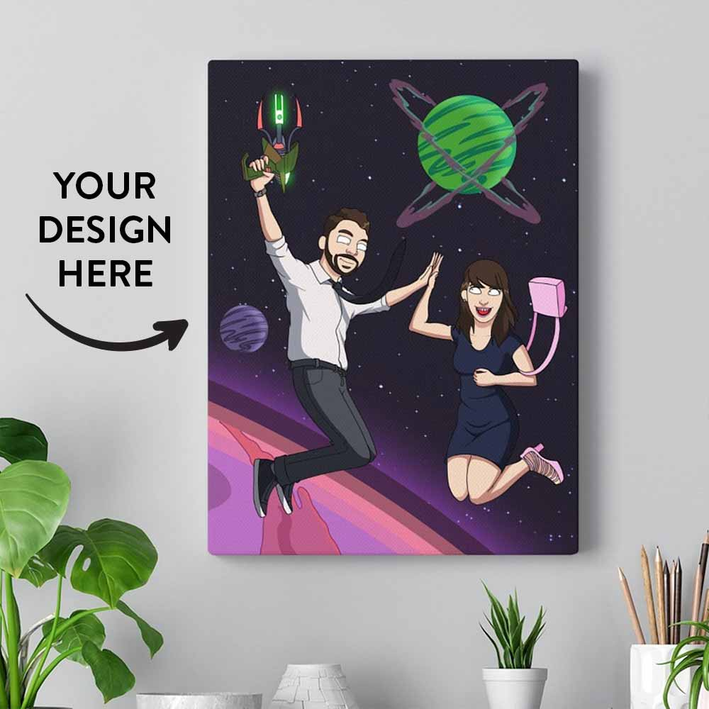 Text on the image reads Your Design Here. A canvas with a personalized Rick style cartoon drawing. The print shows two people in the space high-fiving each other. The canvas is on the white wall and there are a few green plants and pencils on the shelf below.