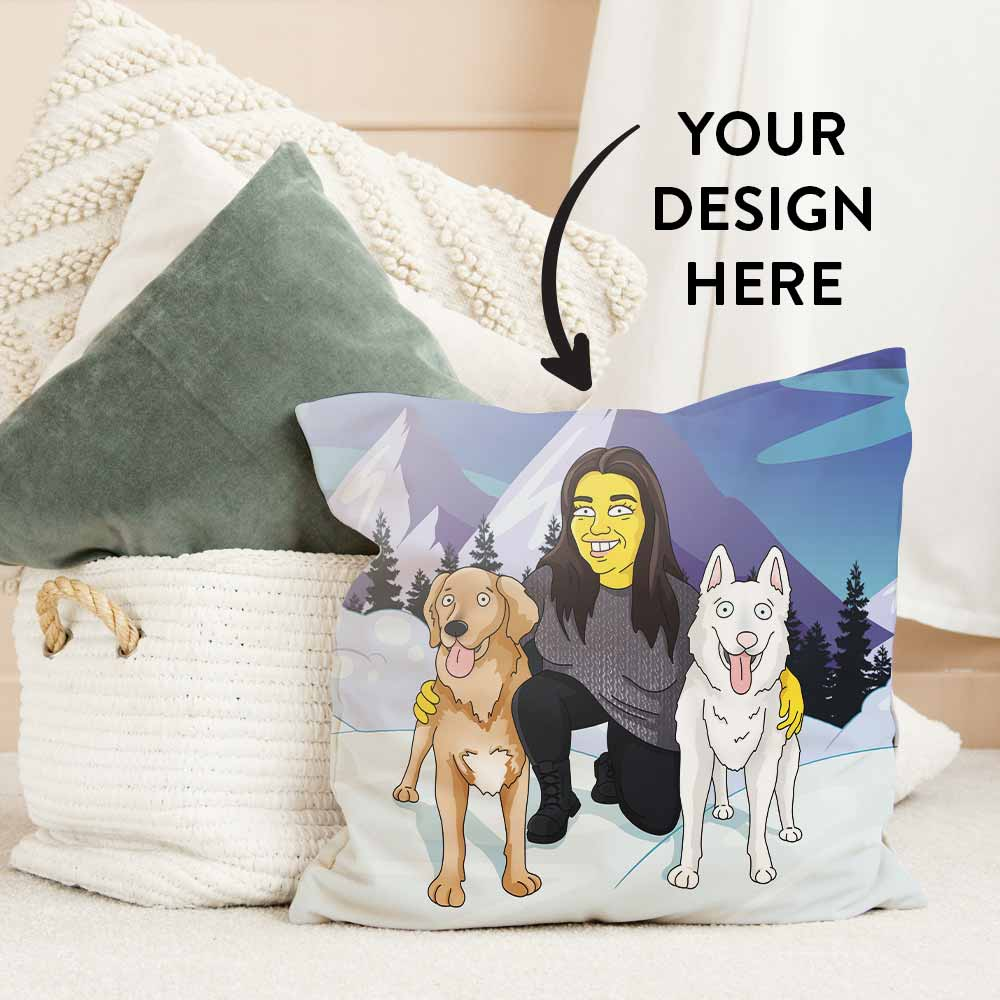Pillows put in the bag. One of the pillows is on the ground next to the bag and it has a personalized GetAnimized design printed on it. In the design you can see a woman with her two dogs. Text on the image says: Your Design Here