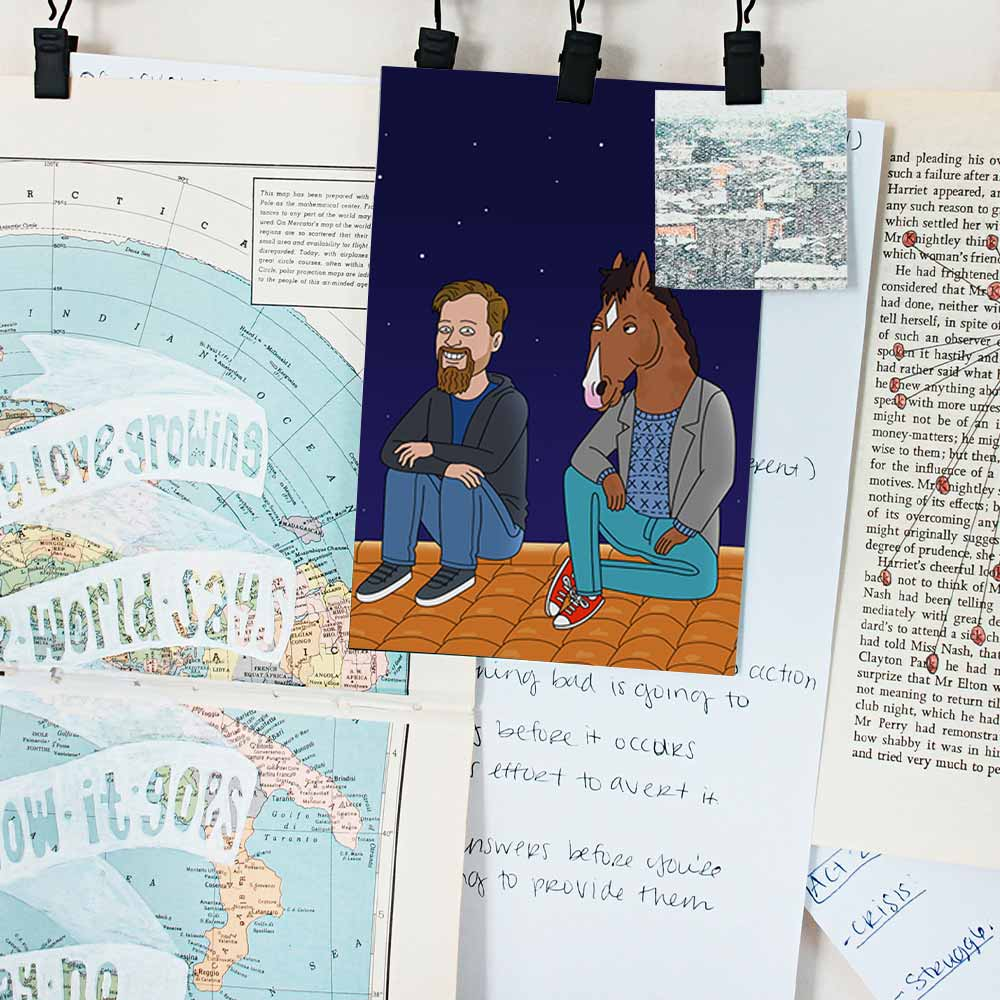 There are a lot of notes, posters, postcards hanging on the wall. One of them is GetAnimized drawing in Bojack Horseman style. In the postcard you can see a guy sitting on the roof with Bojack. The sky is clear and dark, with beautiful stars visible.