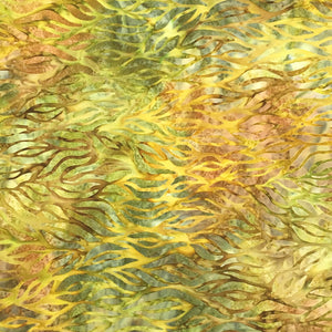 AMD-18857-43 Leaf, Kaufman Batik, Gold Green, Cotton Batik Quilting Fabric
