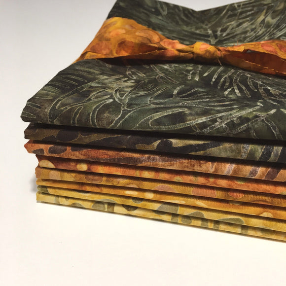 8 Fat Quarter Bundle of Multicolored Batiks, Orange, Brown, Gold Batiks, FQ8BRG