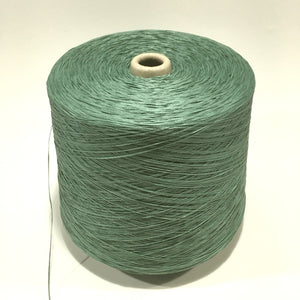 1 Cone Hasegawa Cotton Gima Tape yarn, Myrtle, Green, 2 pounds 12.2 ounces including cone.