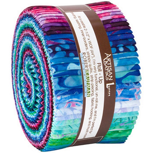 Kaufman Batik Jelly Roll Rollup, Garden Style, Multicolor, Cotton Quilting Fabric