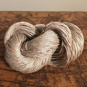 Natural Tan Grey Linen Yarn, 6 Ply, Knitting, Weaving, Crochet, 100 Gram Skein
