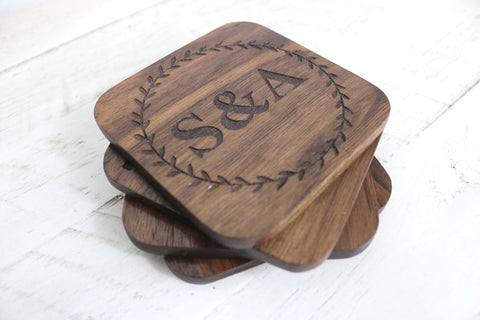 Initials Engraved Coasters