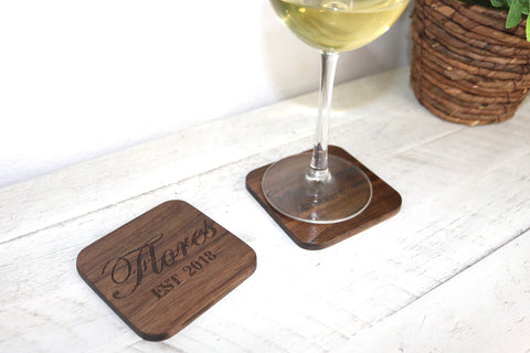 Last Name Engraved Coasters
