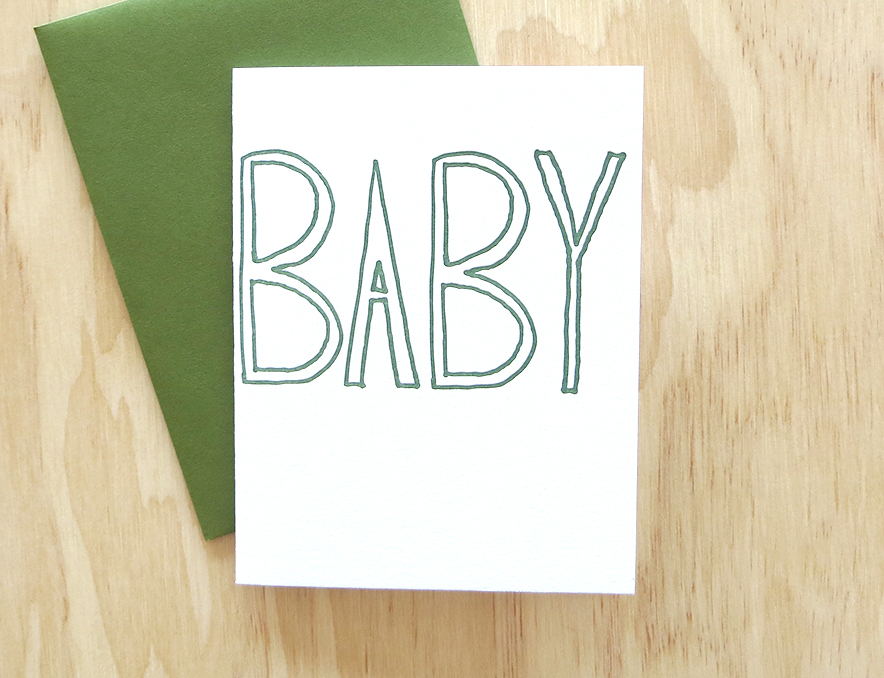Life is Funny Press Green Baby Card