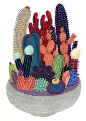 A pot full of Crystal Cactus Print