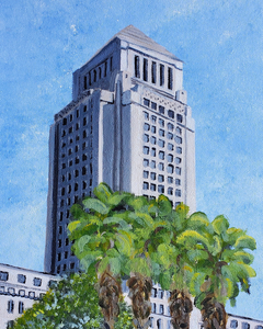 """City Hall Up Close"" acrylic on canvas panel"