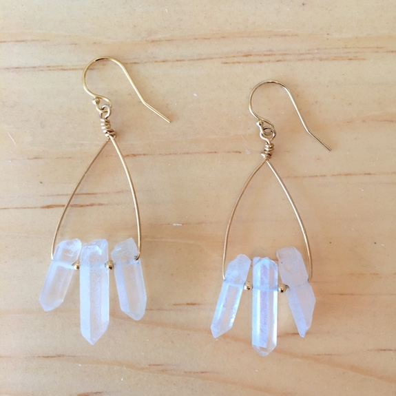 Three Stone Quartz Earrings