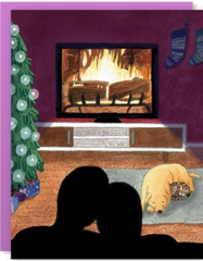 Yule Log and Chill Card