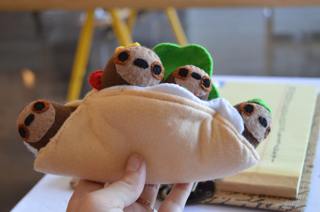 Stuffed taco with removable sloth