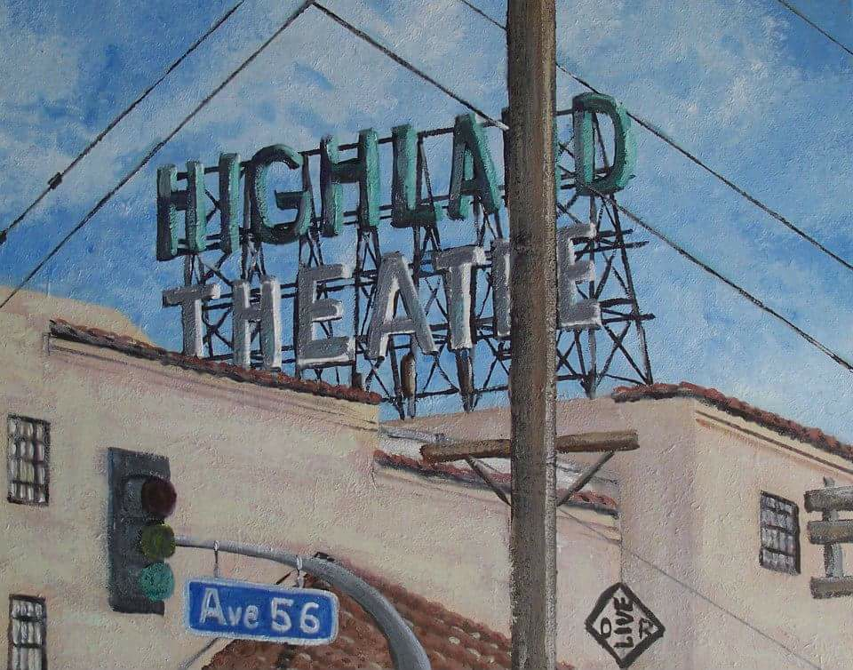 """Highland Theatre"" acrylic on canvas panel"