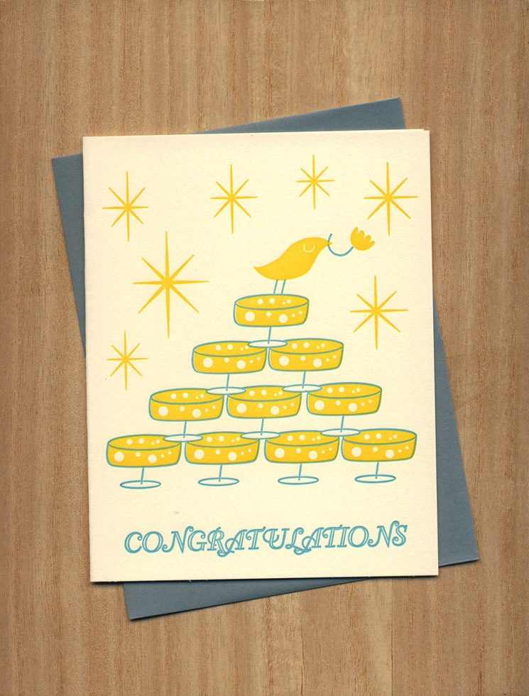 Fugu Fugu Press Champagne Congratulations Card