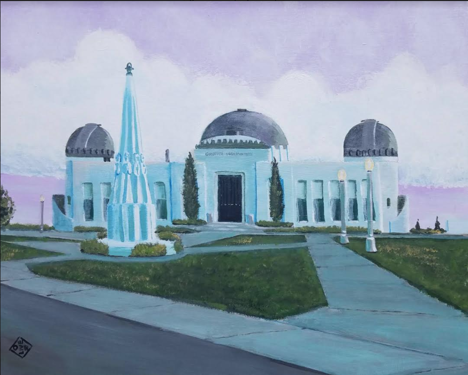 """Griffith Observatory"" acrylic on canvas panel"
