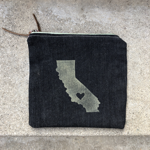 Block print California Love pouch