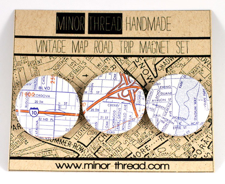 Vintage Map Magnet Set