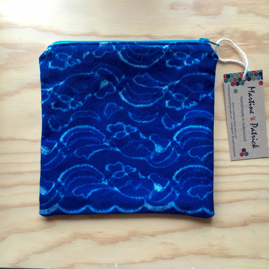 Wave Cyanotype Zip Pouch Los Angeles County Store