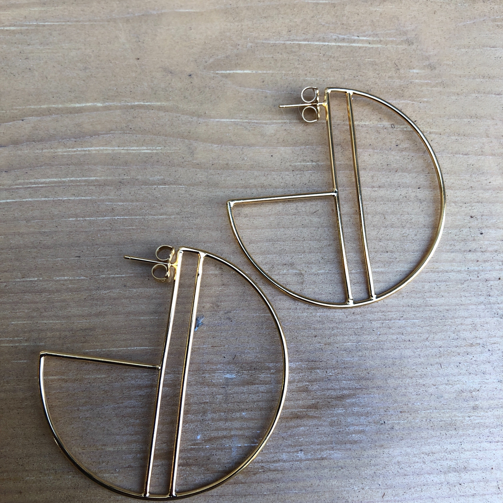 medium sunset hoops gold