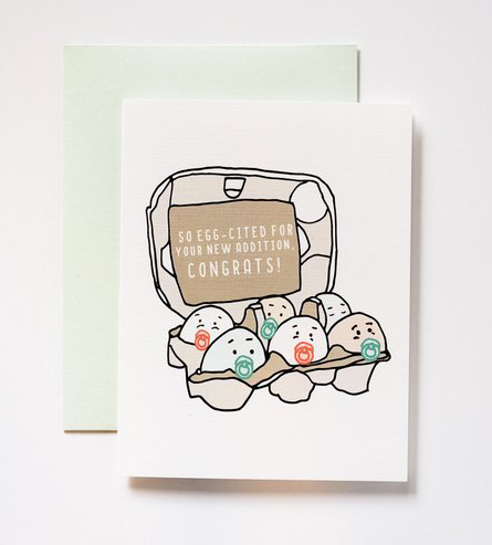 Eggcited Baby Card