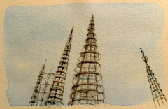 Rodia's Spires water color 6X8""