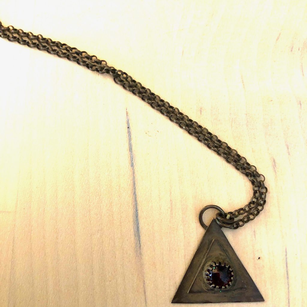 Triangle Silver Garnet Necklace