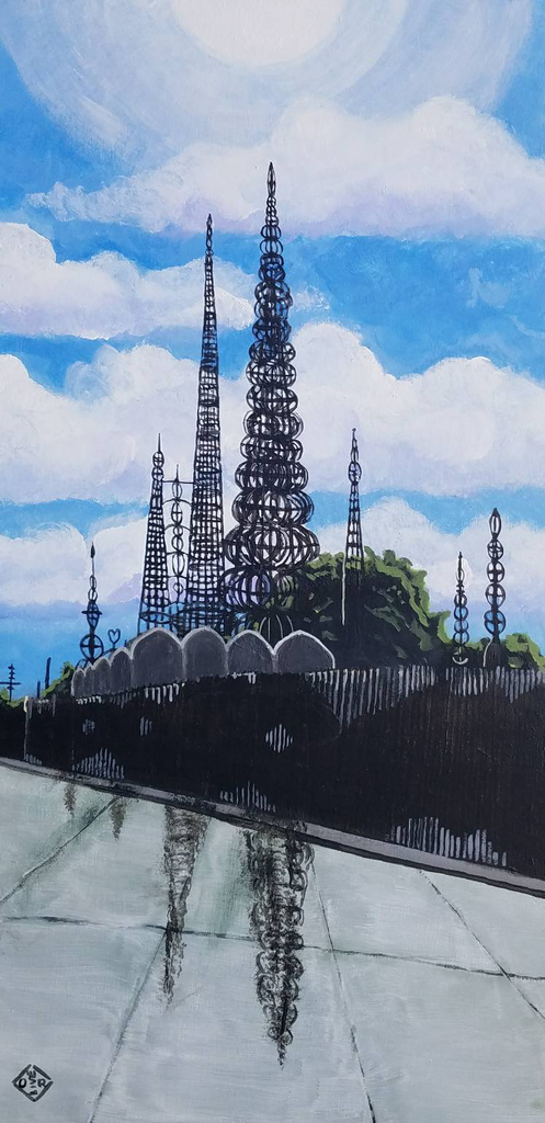 """Watts Towers"" acrylic on canvas panel"