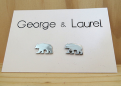 George and Laurel Silver California Bear Earrings