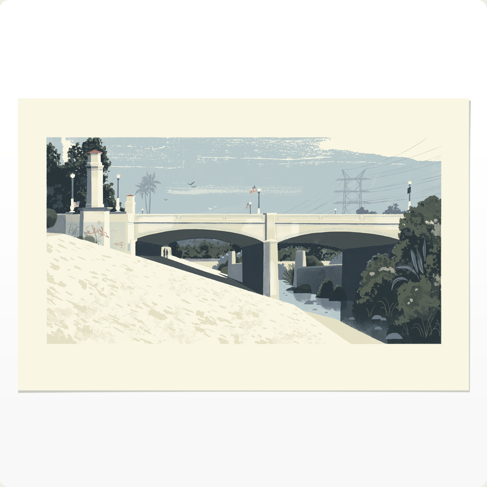 A View of the LA River and Hyperion Bridge