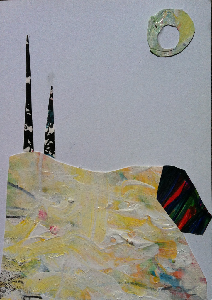 """Two Poles"" Mixed Media Collage on Paper 5X8"""