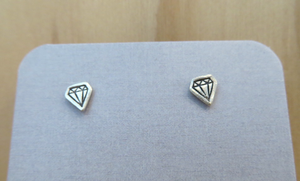 Faux Diamond Sterling Silver Earrings