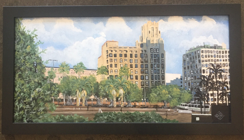 """View from Pershing Square"" acrylic on canvas panel"