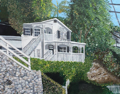 """Hillside House"" acrylic on canvas panel"