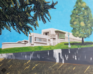 """Hollyhock House"" acrylic on canvas panel"