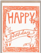 Framed Foxes Birthday Card