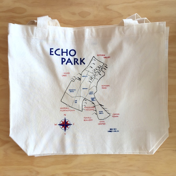 Map of Echo Park Los Angeles Tote Bag
