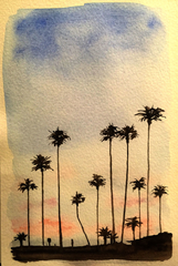 Palm Tree Sunset water color 6X8""
