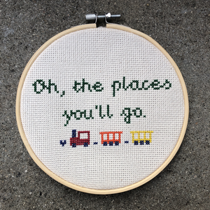 "oh the places you'll go cross stitch 6"" diameter"