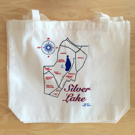 Map of Silver Lake Los Angeles Tote Bag
