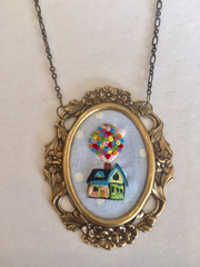 embroidered necklace LARGE Up House