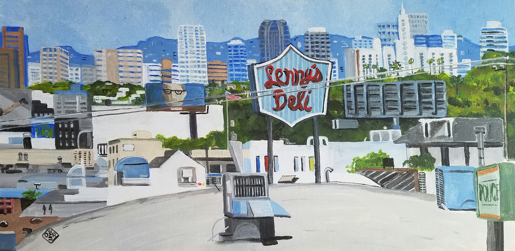 """Westwood Skyline"" acrylic on canvas panel"
