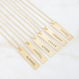 "Hand Stamped Brass Necklace 24"" Chain"