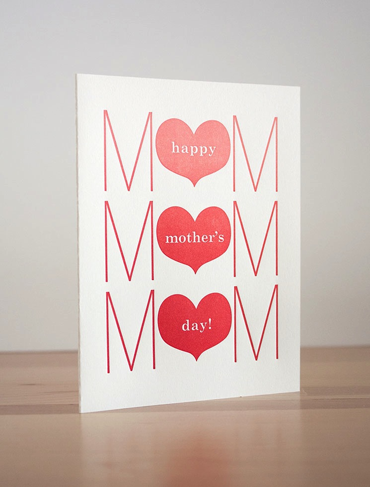Fugu Fugu Press Mother's Day Triple Heart Card